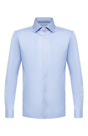 Мужская хлопковая рубашка KITON синего цвета, арт. UMCNERH0683408   Фото 1