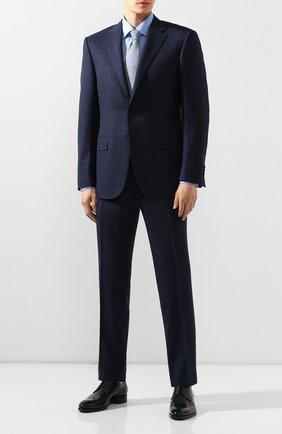 Мужская хлопковая рубашка KITON синего цвета, арт. UMCNERH0683408   Фото 2