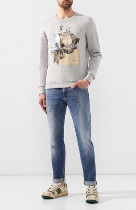 Мужской хлопковый свитшот ALEXANDER MCQUEEN серого цвета, арт. 575464/QNZ74 | Фото 2