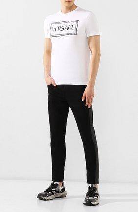 Мужская хлопковая футболка VERSACE белого цвета, арт. A83898/A228806 | Фото 2