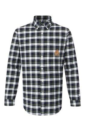 Мужская хлопковая рубашка POLO RALPH LAUREN зеленого цвета, арт. 710758075/4060 | Фото 1