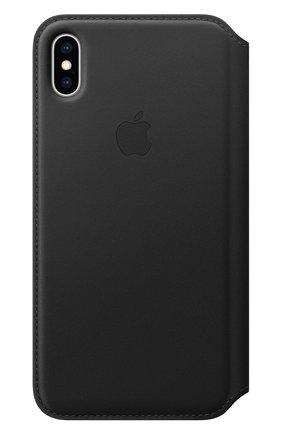 Мужской чехол leather folio для iphone xs max APPLE  черного цвета, арт. MRX22ZM/A   Фото 1