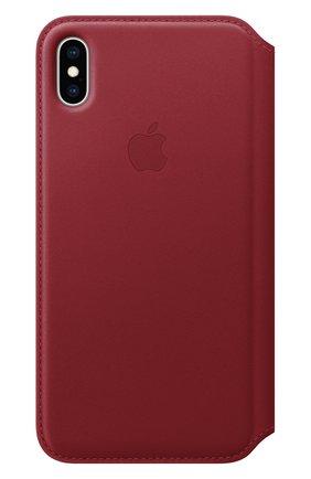 Мужской чехол leather folio для iphone xs max APPLE  красного цвета, арт. MRX32ZM/A   Фото 1