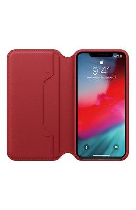 Мужской чехол leather folio для iphone xs max APPLE  красного цвета, арт. MRX32ZM/A   Фото 2