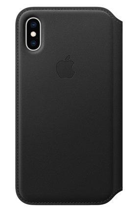 Мужской чехол leather folio для iphone xs APPLE  черного цвета, арт. MRWW2ZM/A   Фото 1