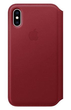 Мужской чехол leather folio для iphone xs APPLE  красного цвета, арт. MRWX2ZM/A   Фото 1