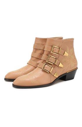 Женские кожаные ботинки susanna CHLOÉ бежевого цвета, арт. CHC16A13475 | Фото 1