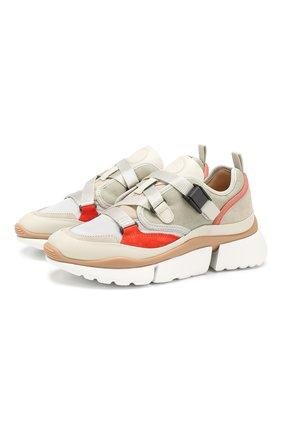 Комбинированные кроссовки Sonnie Chloé светло-серые | Фото №1