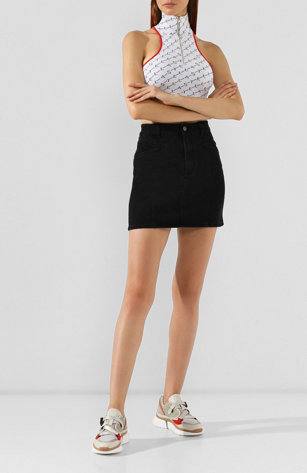 Комбинированные кроссовки Sonnie Chloé светло-серые | Фото №2