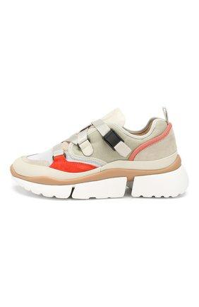 Комбинированные кроссовки Sonnie Chloé светло-серые | Фото №3