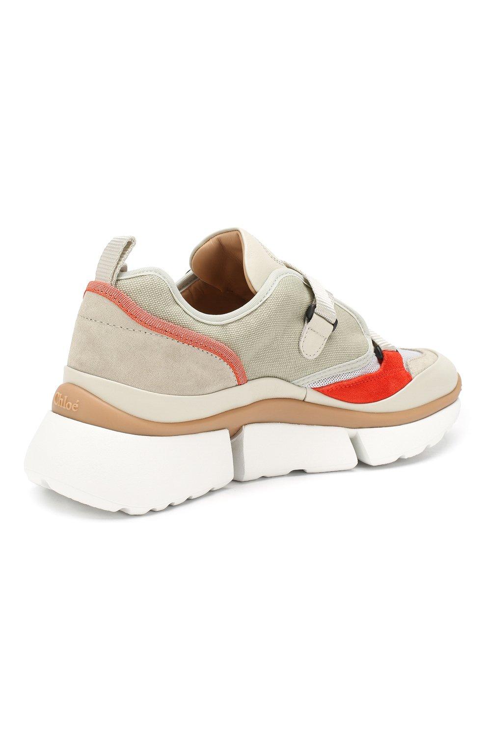 Комбинированные кроссовки Sonnie Chloé светло-серые | Фото №4