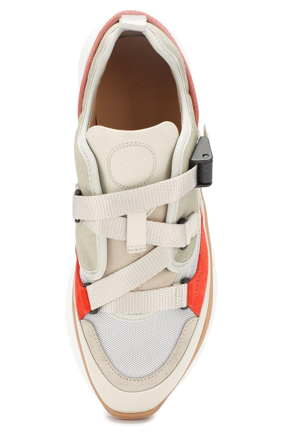 Комбинированные кроссовки Sonnie Chloé светло-серые | Фото №5