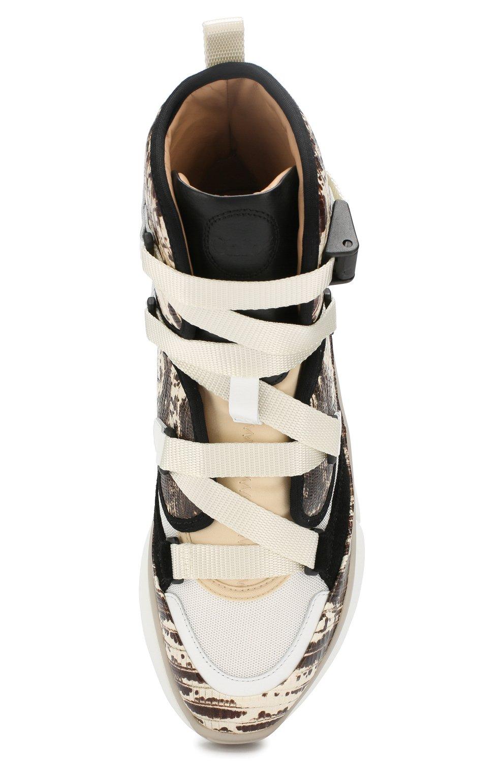 Женские комбинированные кроссовки sonnie CHLOÉ серого цвета, арт. CHC19A050D3 | Фото 5