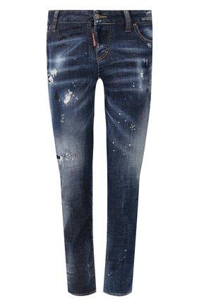 Женские джинсы с потертостями DSQUARED2 синего цвета, арт. S75LB0202/S30342 | Фото 1