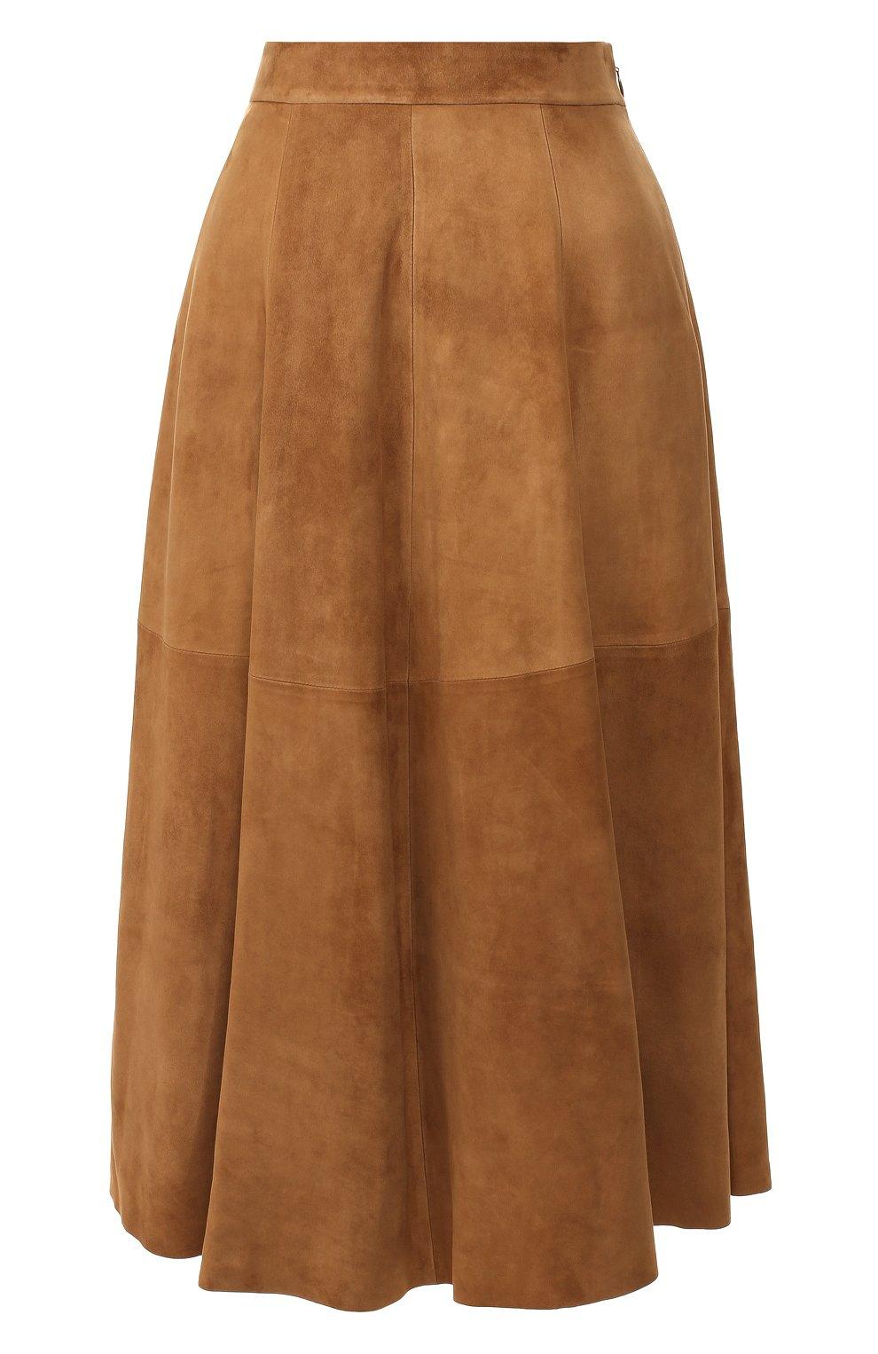 Женская замшевая юбка RALPH LAUREN коричневого цвета, арт. 290764171 | Фото 1