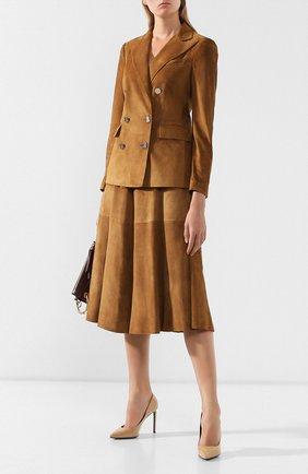 Женская замшевая юбка RALPH LAUREN коричневого цвета, арт. 290764171 | Фото 2