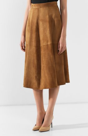 Женская замшевая юбка RALPH LAUREN коричневого цвета, арт. 290764171 | Фото 3
