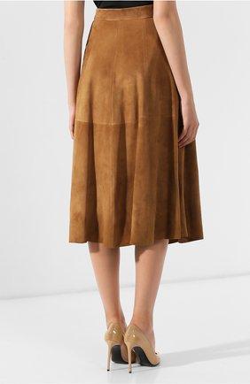 Женская замшевая юбка RALPH LAUREN коричневого цвета, арт. 290764171 | Фото 4