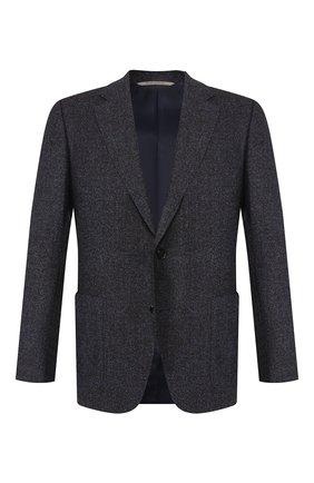 Мужской пиджак из смеси шерсти и шелка CANALI темно-синего цвета, арт. 11288/CF02220/112 | Фото 1