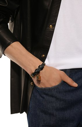Мужской кожаный браслет ALEXANDER MCQUEEN черного цвета, арт. 554467/1AC9T | Фото 2