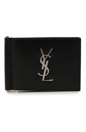 Мужской кожаный зажим для денег SAINT LAURENT черного цвета, арт. 485630/0SX0E | Фото 1