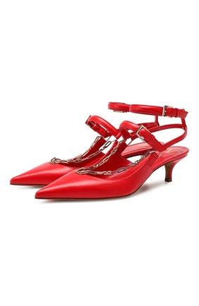 Женская кожаные туфли valentino garavani chain VALENTINO красного цвета, арт. SW2S0P37/XGN | Фото 1