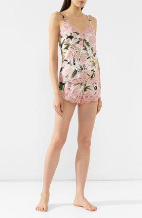 Женские шорты из смеси шелка и хлопка DOLCE & GABBANA светло-розового цвета, арт. 03A02T/FSAYV   Фото 2