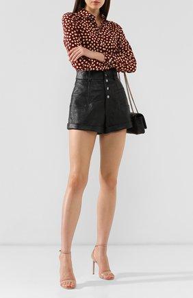 Женские кожаные шорты SAINT LAURENT черного цвета, арт. 560672/YC2UE | Фото 2