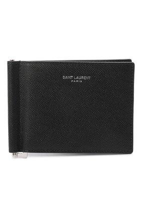 Мужской кожаный зажим для денег SAINT LAURENT черного цвета, арт. 378005/BTY0N | Фото 1