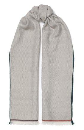 Мужской кашемировый шарф LORO PIANA светло-серого цвета, арт. FAF3540 | Фото 1