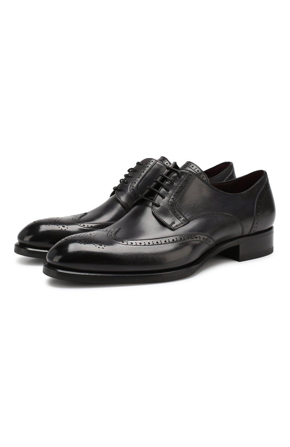 Мужские кожаные дерби BRIONI черного цвета, арт. QEEZ0L/P6757 | Фото 1