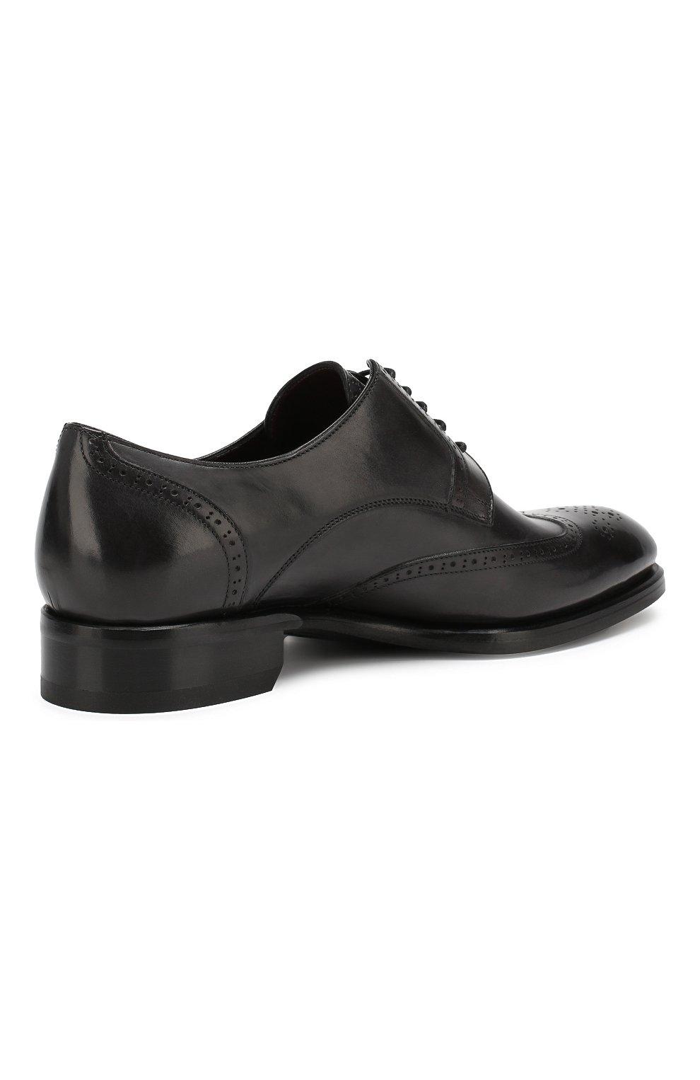 Мужские кожаные дерби BRIONI черного цвета, арт. QEEZ0L/P6757 | Фото 4