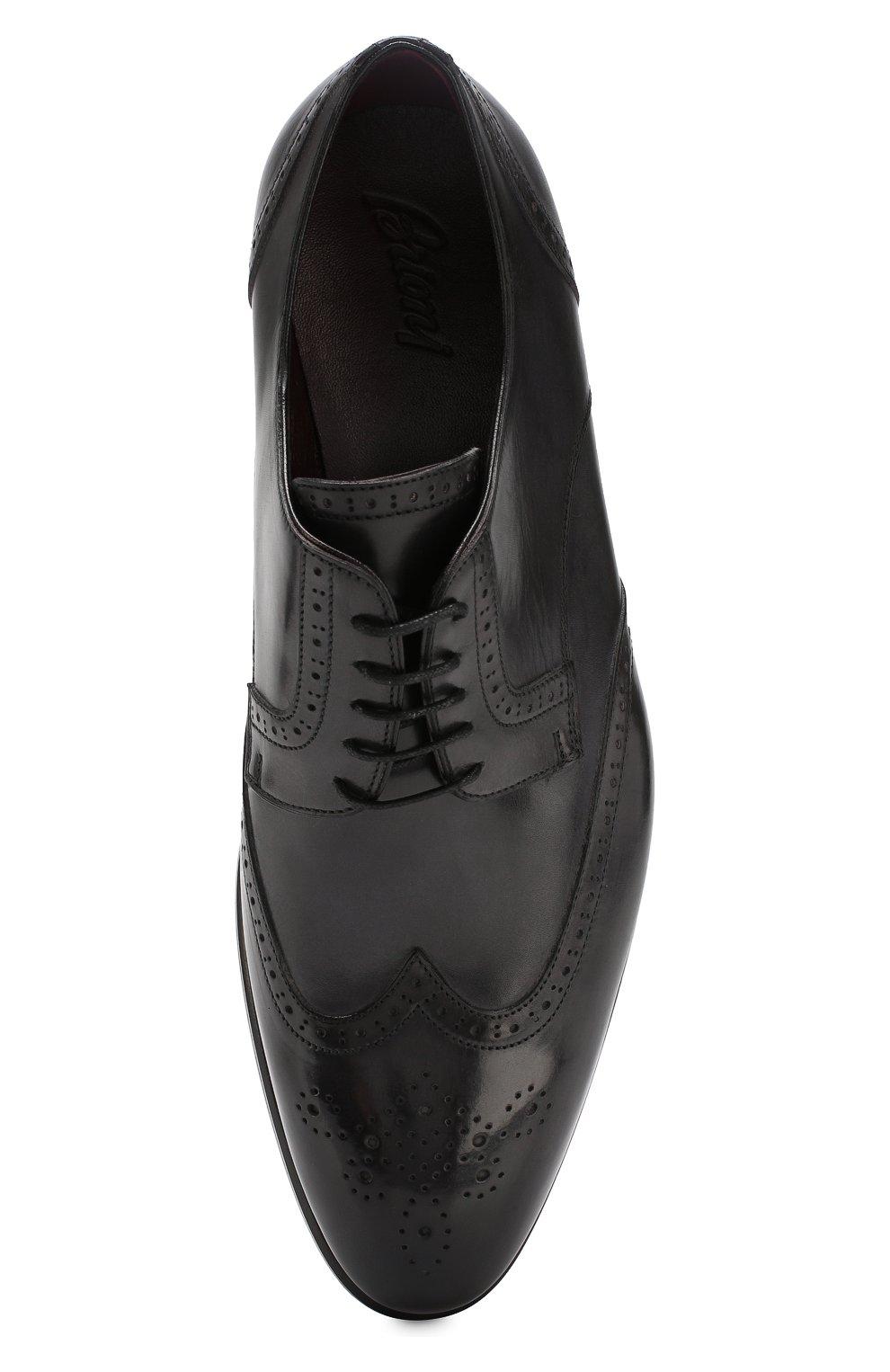 Мужские кожаные дерби BRIONI черного цвета, арт. QEEZ0L/P6757 | Фото 5