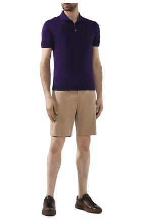 Мужское хлопковое поло POLO RALPH LAUREN фиолетового цвета, арт. 710541705 | Фото 2