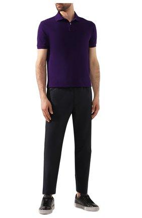Мужское хлопковое поло POLO RALPH LAUREN фиолетового цвета, арт. 710680784 | Фото 2
