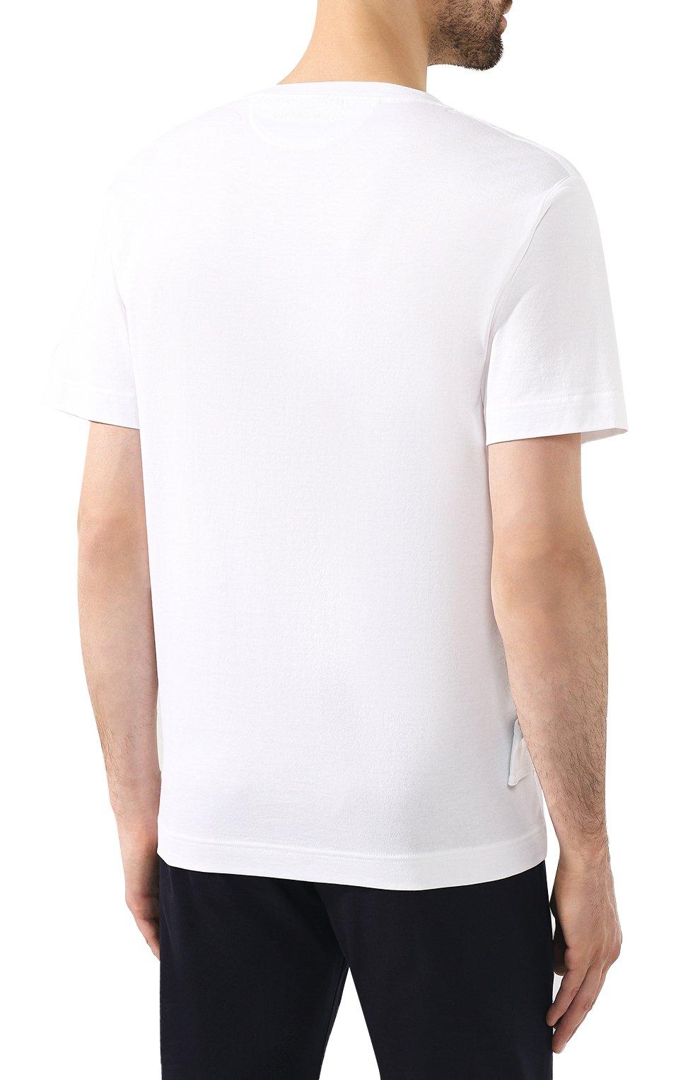 Мужская хлопковая футболка BOTTEGA VENETA белого цвета, арт. 575589/VKAB0 | Фото 4