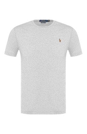 Мужская хлопковая футболка POLO RALPH LAUREN серого цвета, арт. 710740727 | Фото 1 (Длина (для топов): Стандартные; Материал внешний: Хлопок; Принт: Без принта; Рукава: Короткие; Стили: Кэжуэл; Статус проверки: Проверена категория)