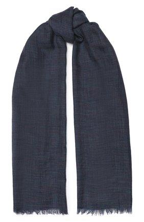 Мужской шарф brina из смеси кашемира и шелка с необработанным краем LORO PIANA синего цвета, арт. FAF8678 | Фото 1