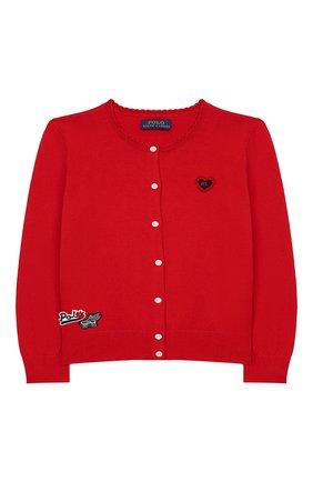 Детский хлопковый кардиган POLO RALPH LAUREN красного цвета, арт. 311736815 | Фото 1