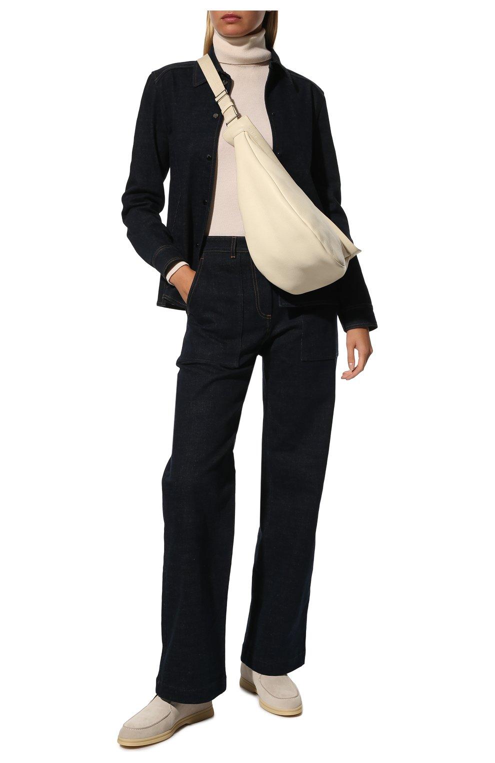 Женские замшевые ботинки open walk LORO PIANA светло-серого цвета, арт. FAE9959 | Фото 2
