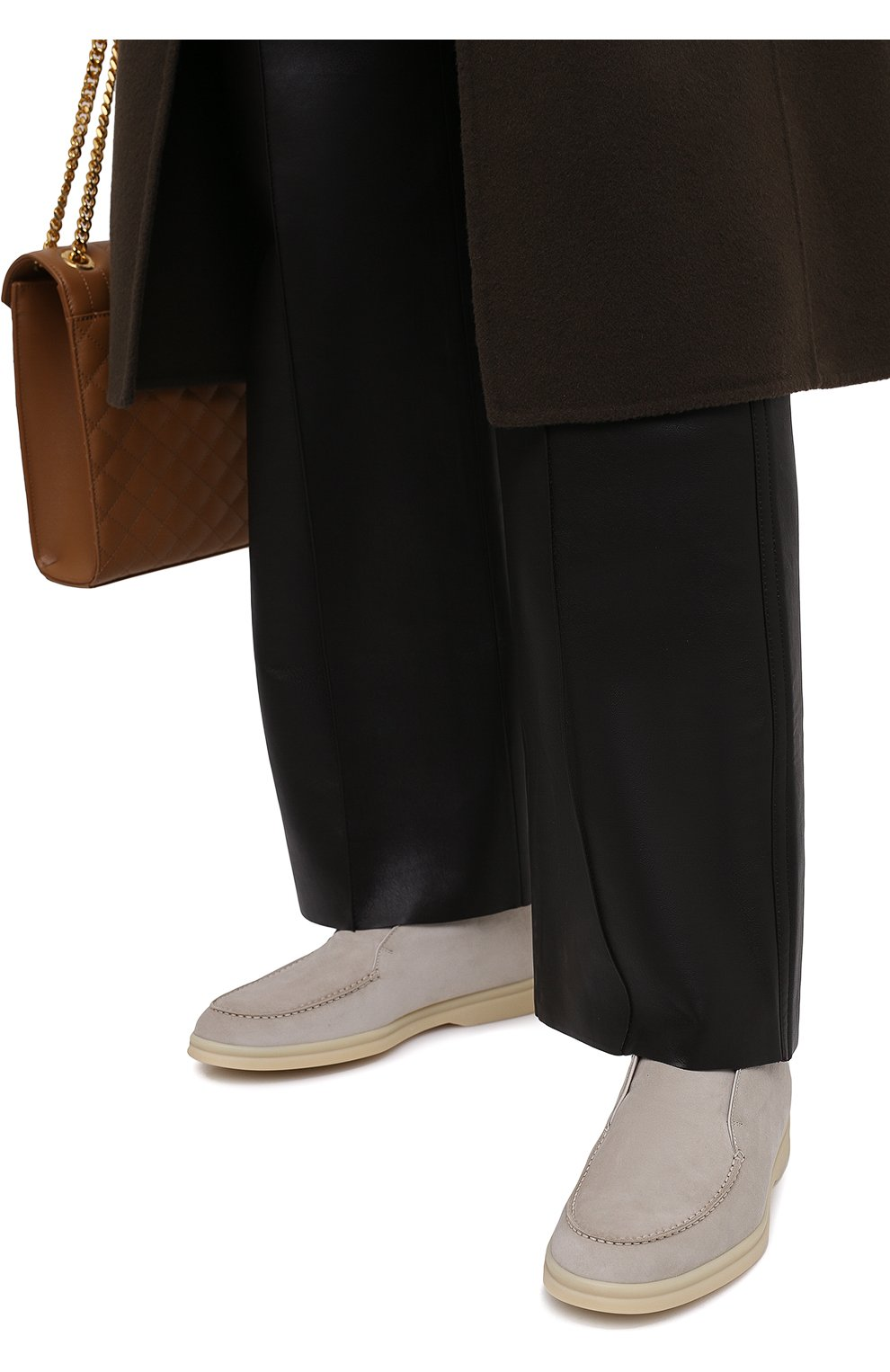 Женские замшевые ботинки open walk LORO PIANA светло-серого цвета, арт. FAE9959 | Фото 3