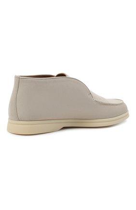 Женские замшевые ботинки open walk LORO PIANA светло-серого цвета, арт. FAE9959 | Фото 5