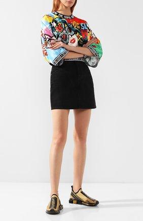 Женские текстильные кроссовки sorrento DOLCE & GABBANA золотого цвета, арт. CK1595/AZ342 | Фото 2