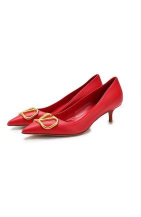Женская кожаные туфли valentino garavani go logo VALENTINO красного цвета, арт. SW2S0Q63/DSH | Фото 1