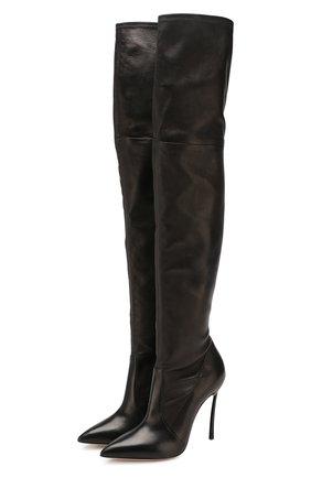 Женские кожаные ботфорты CASADEI черного цвета, арт. 1T908L100HHNAGU9000 | Фото 1
