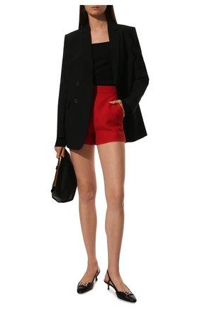 Женские шорты из смеси шерсти и шелка VALENTINO красного цвета, арт. SB3RF0T51CF | Фото 2