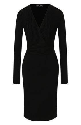 Женское шерстяное платье TOM FORD черного цвета, арт. ACK031-YAX223 | Фото 1 (Длина Ж (юбки, платья, шорты): До колена; Рукава: Длинные; Материал внешний: Шерсть; Случай: Формальный; Статус проверки: Проверена категория)