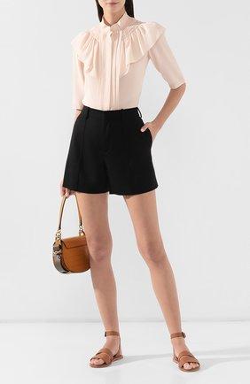 Женские шерстяные шорты CHLOÉ черного цвета, арт. CHC19ASH11065 | Фото 2