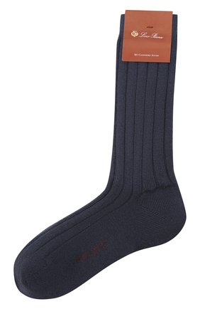 Женские кашемировые носки LORO PIANA темно-синего цвета, арт. FAF8553 | Фото 1