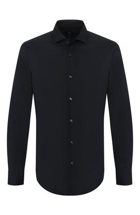 Мужская хлопковая рубашка BOSS черного цвета, арт. 50413802 | Фото 1
